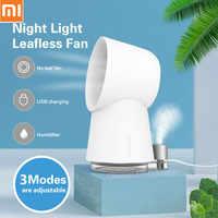 New Xiaomi Youpin Happy Life 3 In 1 Mini Cooling Fan Bladeless Desktop Fan Outdoor Mist Air Humidifier LED Light 9 Speed USB Fan
