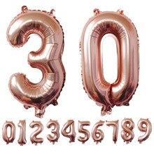 1pc de 32 pulgadas Rosa oro, plata, aluminio láminas con números para globos 0-9 boda cumpleaños decoración de fiesta de Globo niños Bola de suministros