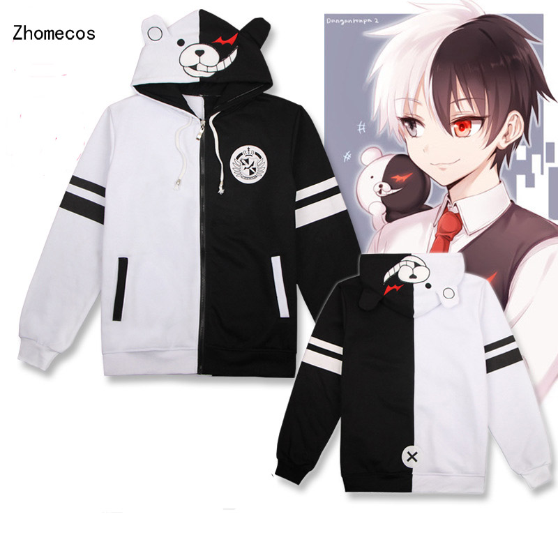 Adult Cotton Unisex Anime Danganronpa Monokuma Hooded Hoodies Jackets Coat Costumes Cosplay For Woman Man Plus Size