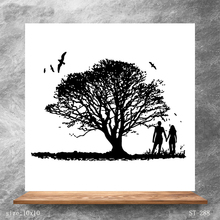 ZhuoAng Big Tree Lovers Bird Clear Stamps/Silicone Transparent Seals for DIY scrapbooking photo album Stamps 10*10cm