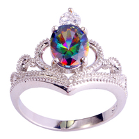 lingmei Wholesale Hot Stylish Sexy Oval Cut Mysterious Rainbow Topaz 925 Silver Ring Size 6 7 8 9 10 Free Shipping Women Gift