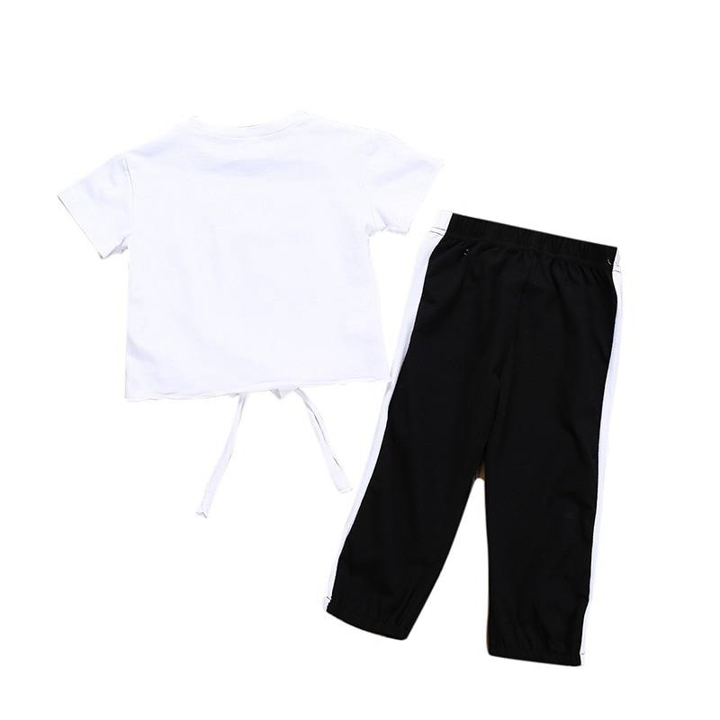 Mode mignon enfant en bas âge fille T-shirt été enfant en bas âge bébé fille lettre impression T-shirt Blouse hauts pantalons longs pantalons tenues décontractées