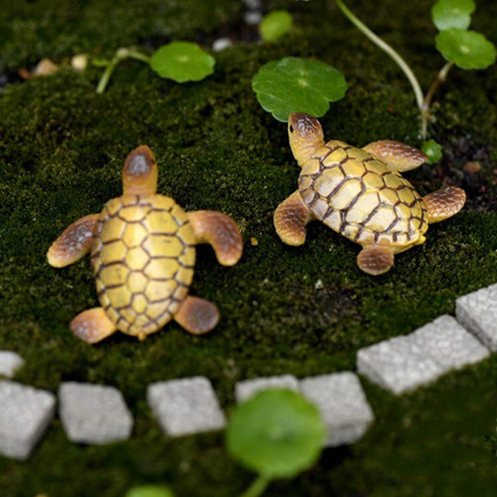 Mini Sea Turtle Model Resin Figurines Fairy Garden Miniatures Fish Tank Acessories DIY Terrarium Landscape Decoration Artificial