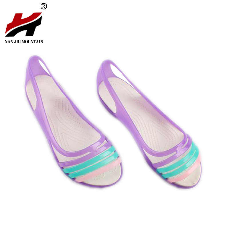 ed3a9a947 Rainbow Jelly Shoes Women Flats Sandalias Woman Sandals Summer New Candy  Color Peep Toe Stappy Beach