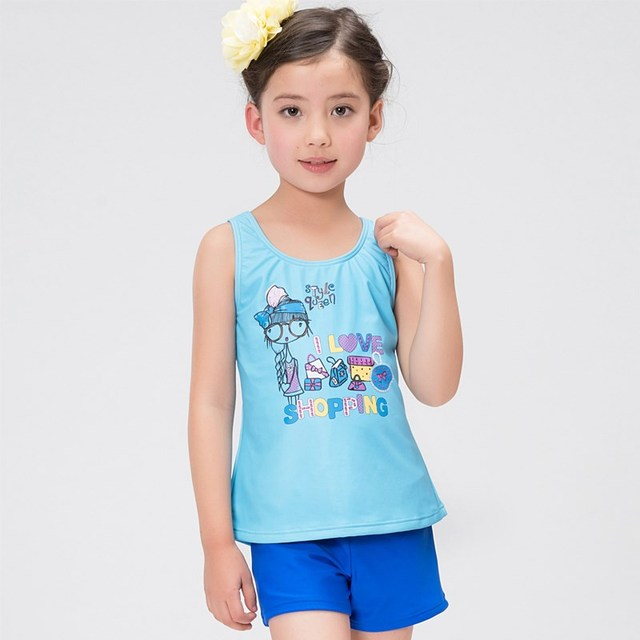 52688bf805 US $16.2 |XARKE Girls Swimsuit Kids Two Pieces Bathing Suit Baby Girl  Tankini Blue Green Swimming Suit for Children Girls Swim Suit Beach-in ...
