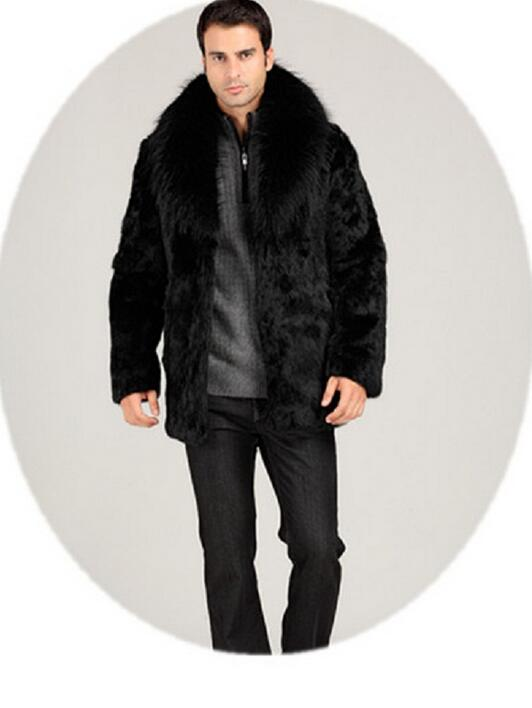 Winter thicken thermal mink hair rabbit fur leather jacket men casual overcoat mens medium-long coats outerwear black fashion