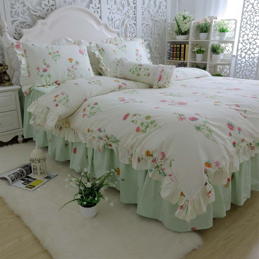 グリーン素朴な花寝具セット、綿女の子ツインフル女王キング、シングル、ダブル寝具枕ケース布団カバーベッドドレス