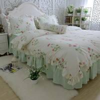 Xanh mộc mạc hoa giường có bộ, áo quần cotton gái twin full nữ hoàng vua, duy nhất đôi chăn mền vỏ gối chăn che giường váy