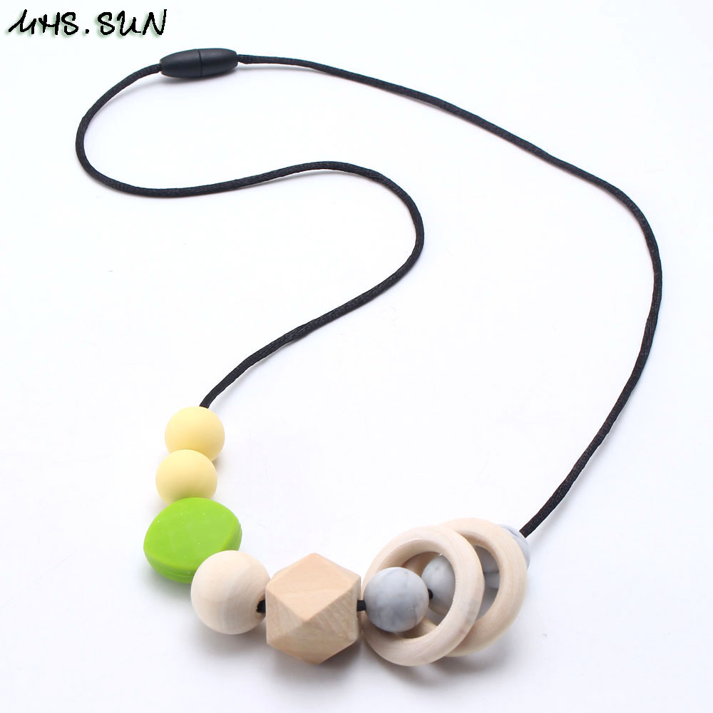 MHS.SUN Food Grade Silicone Beads Necklace Baby Mom Teething Nursing Chewable Necklace BPA Free Silicone Jewelry Soft Safty New bead