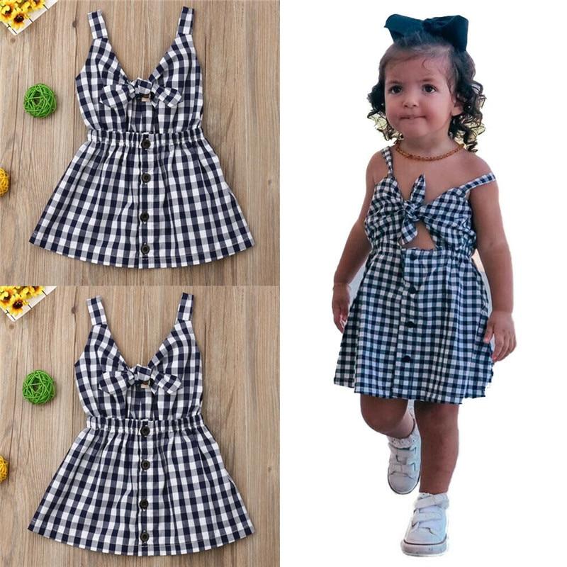 Sundress-Button Strappy Plaids Black Girls Kids Summer Sleeveless Bow V-Neck A-Line Hollow-Out