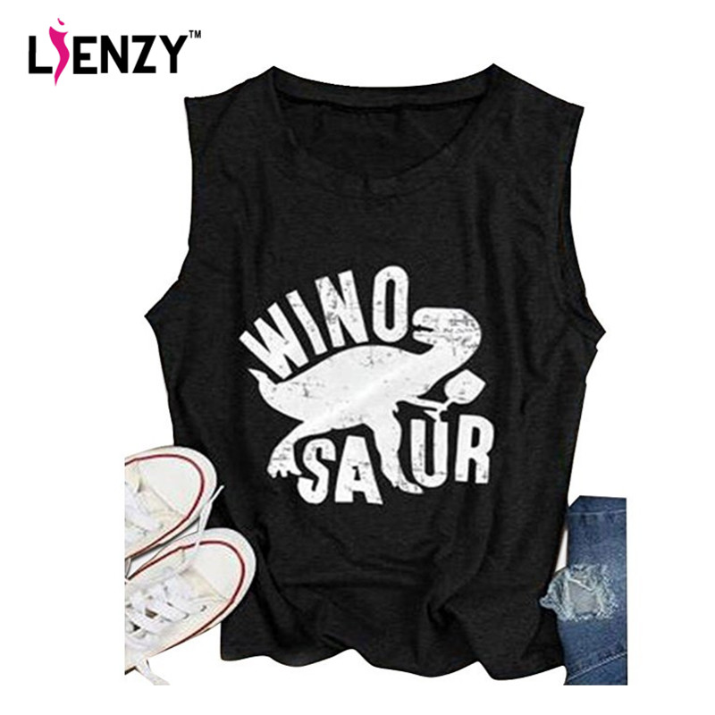 LIENZY Summer Wino Saur dinosaur Tank Top Drinking Saur Letter Funny Loose Women Tank Tops