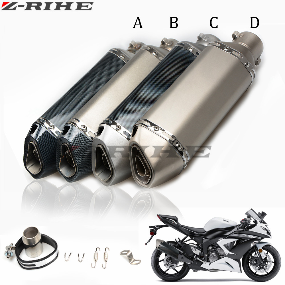 Motorcycle carbon fiber Scooter Muffler Silencer Modified escape exhaust pipe for kawasaki z800 z750 z1000 er6n ninja 300 Z 300 modified akrapovic exhaust escape moto silencer 100cc 125cc 150cc gy6 scooter motorcycle cbr jog rsz dirt pit bike accessories
