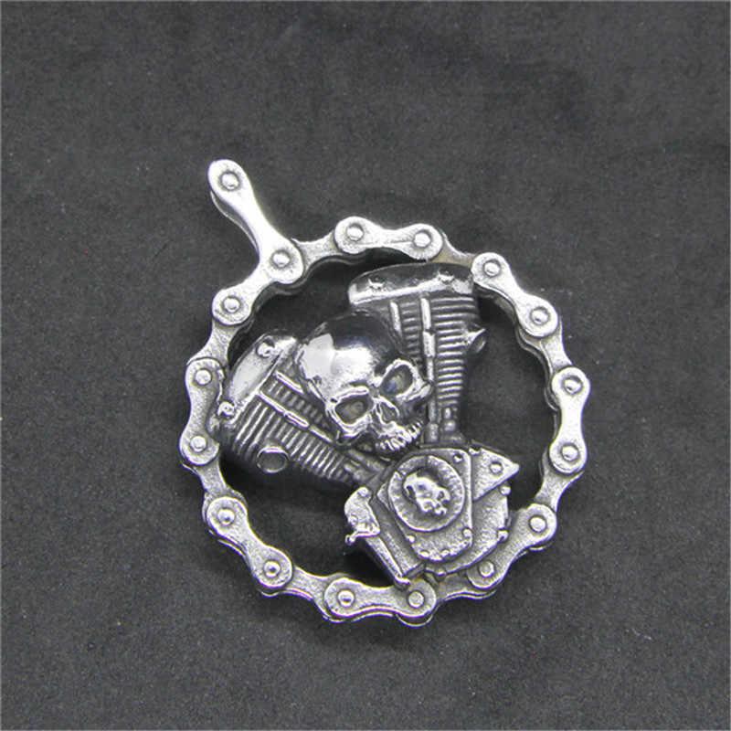 Rany و روي أحدث الدراجات النارية الجمجمة محرك قلادة 316L الفولاذ المقاوم للصدأ السائق الأزياء محرك قلادة