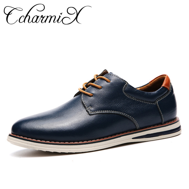 CcharmiX Business Men Shoes Genuine Leather Mens Pointed Toe Dress Shoes For Men Wedding Shoes Plus Size 38-47 Formal Footwear hot sale mens genuine leather cow lace up male formal shoes dress shoes pointed toe footwear multi color plus size 37 44 yellow