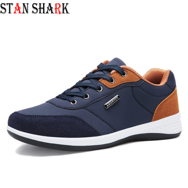 Autumn New Men Lace-Up Sneakers Casual Shoes Breathable Microfiber Leather Casual Shoes Spring Leather Shoes Men Chaussure Homme