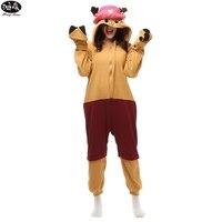 Anime One Piece Tony Chopper Onesie Pajamas Unisex Couples Cartoon Animal Fleece Winter Pyjama Adult Women