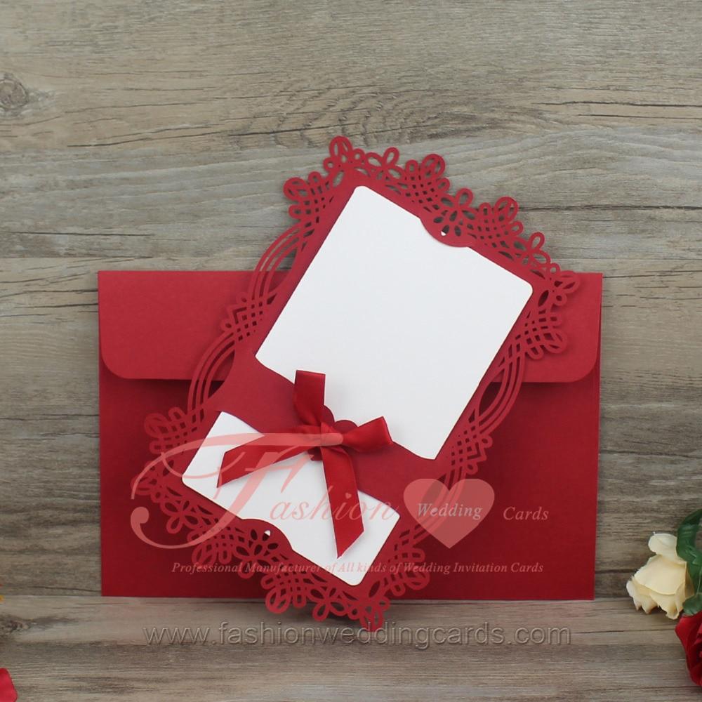 50PCS/LOT China Red Single page Laser Cut Edge Wedding Invitation ...