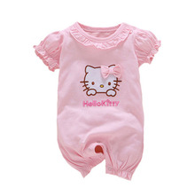 ФОТО summer romper new born baby girls clothes cotton cute cat romper tiny cottons short sleeve newborn jumpsuits baby girl rompers