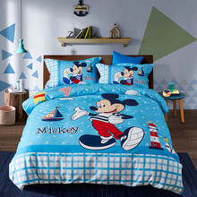 Disney mickey bedding set kids bedclothes 100% cotton cartoon Duvet Cover Flat Sheet Pillow Cases Single Queen Size Bed Linen(China)