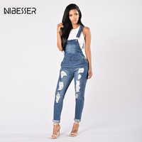 NIBESSER Ripped Hole Hollow Out Jumpsuits Women Casual Blue Long Jeans Jumpsuits Female Fashion 2017 Autumn