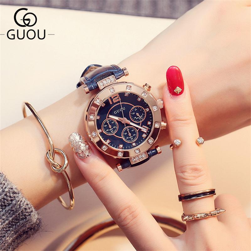 GUOU reloj de lujo reloj de cuarzo de moda señoras reloj mujeres Rhinestone cuero Casual reloj de oro rosa relogio feminino