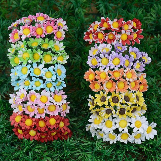 2016 20 шт./лот шелк 2 вида цветов искусственные цветы ромашки Для Свадебные украшения DIY Скрапбукинг моделирования венок поддельные цветы