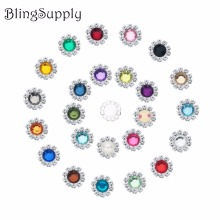Free shipping 12mm rhinestone button embellishment flatback 27 stock colors 20PCS/lot(BTN-5144)