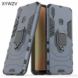 Image 2 - Vivo Y95 Case Shockproof Cover Hard PC Armor Metal Finger Ring Holder Phone Case For Vivo Y95 Protection Back Cover For Vivo U1