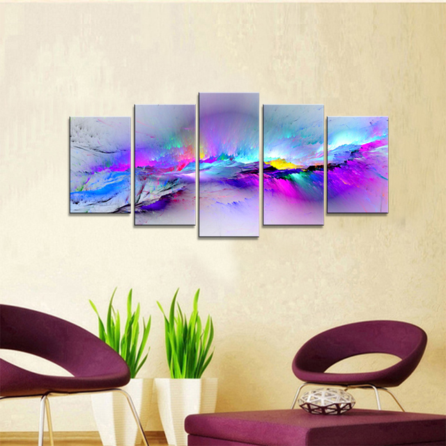 Changing Colors Modern Abstract 5 Pcs Framed Canvas Prints Artwork ...
