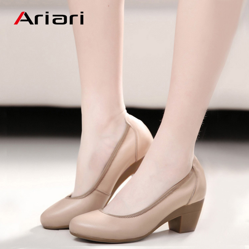 Ariari Genuine Leather Women Dress Shoes Comfortable Soft Work High Heels Shoes Elegant Office Lady Round Toe Pumps Big Size 43(China)