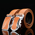 Jaguar Designers Luxury Cowhide Brand Genuine Leather Automatic Buckle Belt for Mens High Quality Jaguar Ceinture Homme Orange