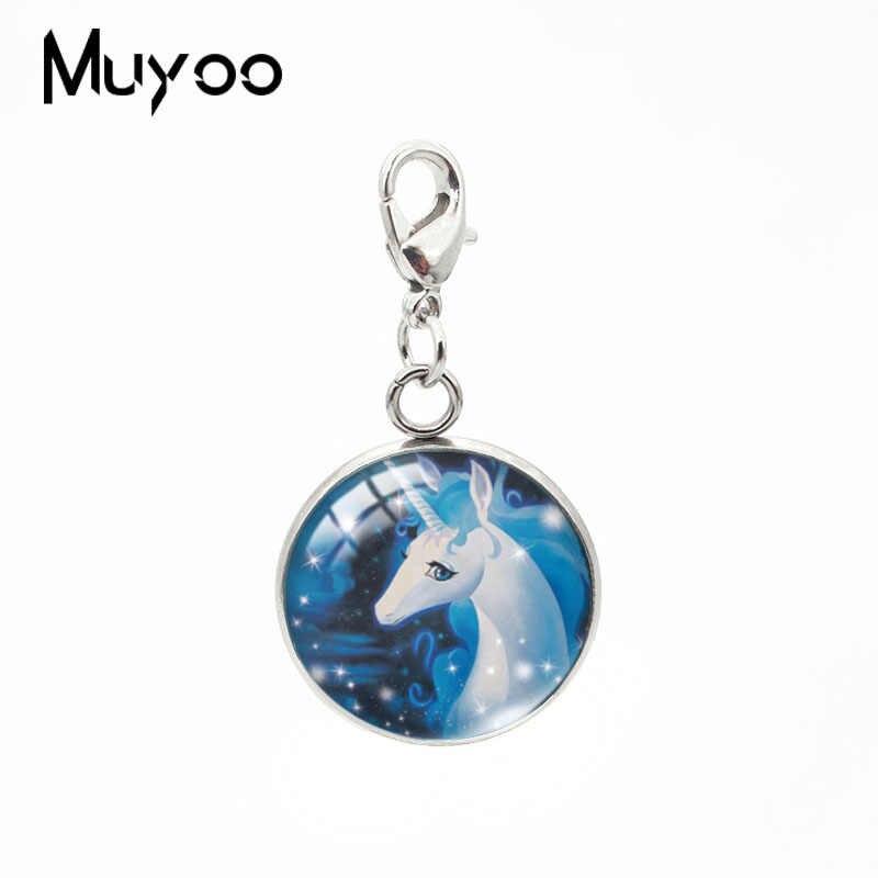 2019 חדש מסתורי Unicorn עגול קסם תליון מזל סוס דפוס תליוני זכוכית קרושון תכשיטים