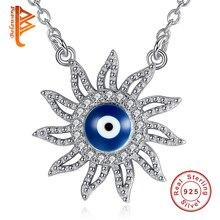 Belawang стерлингового серебра 925 Игристые Защита от солнца Цепочки и ожерелья с синей эмалью сглаза цепи Цепочки и ожерелья для Для женщин оригинальные украшения