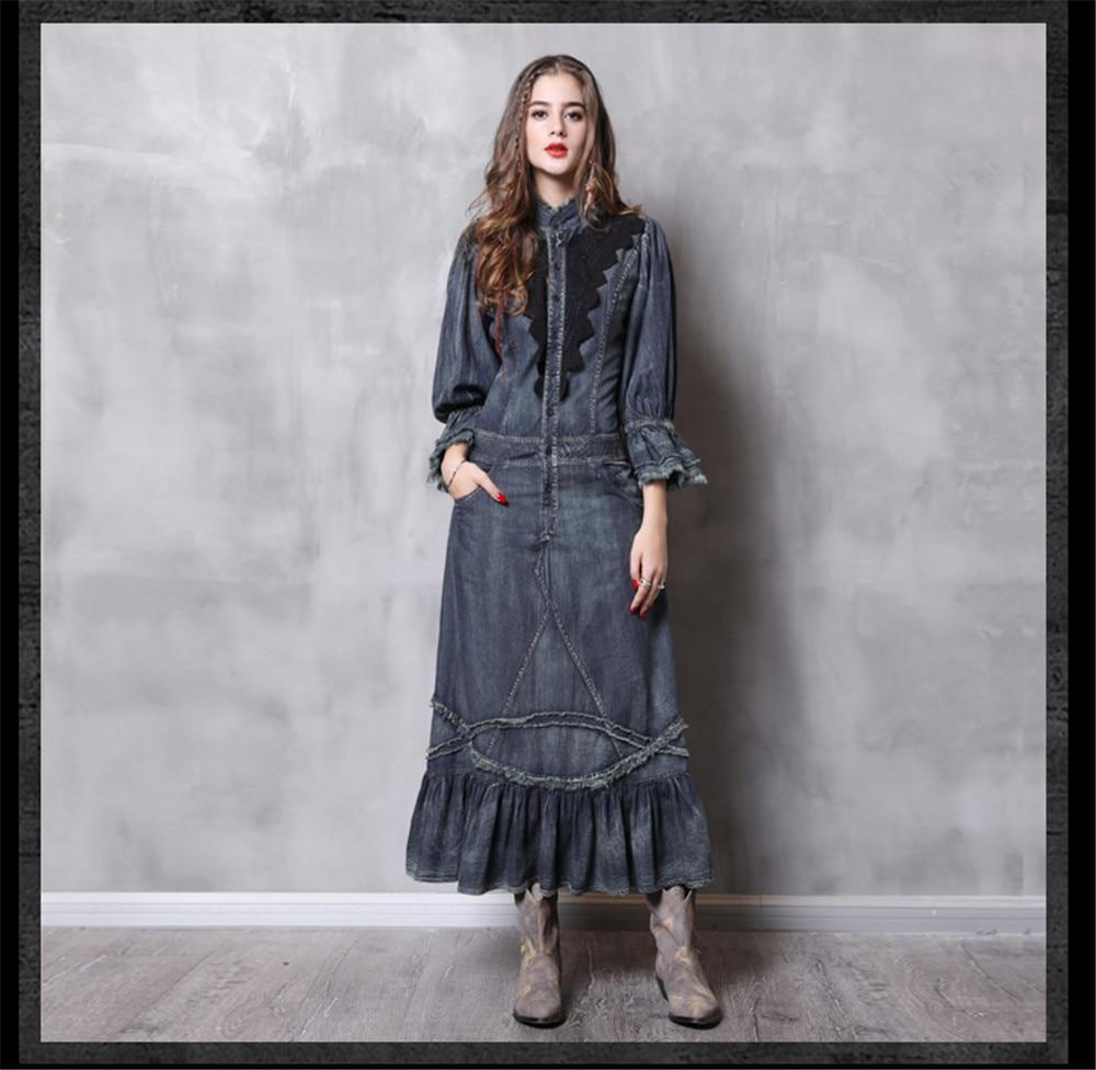 Vintage Autumn Dress Women With Pockets 2018 New Denim Dresses Stand Collar Long Elegant Lace Patchwork Vestidos Femininos (11)