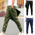 Fashion Cool Men Solid Color Slim Fit Casual Skinny Pencil Pants Trousers