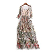Women Mesh Embroidery Dress Party Ruway Floral Bohemian Flower Dresses Embroidered Vintage Boho Robe Vestido New