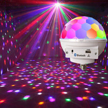 RGB LED Disco Ball Sound Party Lights Wireless Bluetooth Music Lamp With Speaker Disco lights for home E27 9 colors
