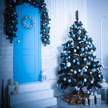 Laeacco Door Christmas Tree Candle Photography Backgrounds Customized Photographic Backdrops For Photo Studio