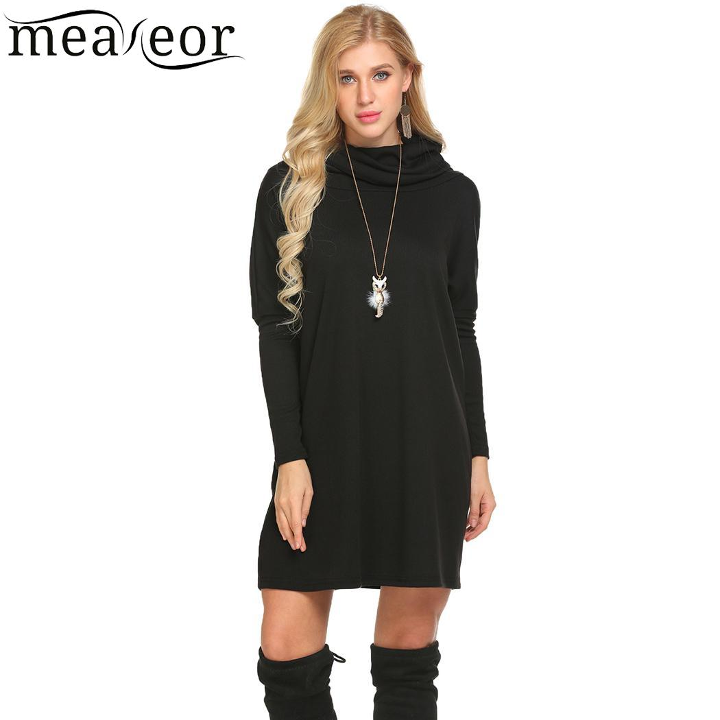 Beyove Loose Women Turtleneck Batwing Long Sleeve Ribbed Knit Top Short Sweater Dress