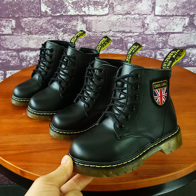 Children's Martin boots boys girls fashion motorcycle boots autumn winter genuine leather soft waterproof black kids boots shoes