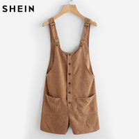 SHEIN Button Up Patch Pocket Detail Cord Overalls Camel Sleeveless Strap Female Overalls Casual Womens Corduroy