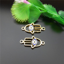 10PCS KC Gold Hand Charm With Eye Jewelry Making Necklace Bracelet Finding Wholesale Handmade Crafts Accessory 28*15*3mm 51811