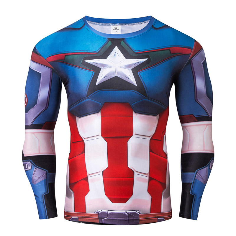 Man 3D Printed Captain America T-shirt Man Lång Ärmad Kompression - Herrkläder