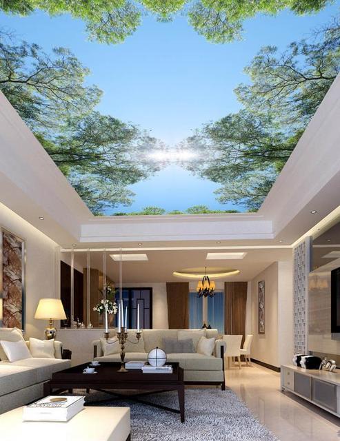 Beautiful European Home Decor 3D Ceiling Murals Wallpaper Blue Sky Sunshine 3D Mural  Wallpaper Ceiling For Living Room