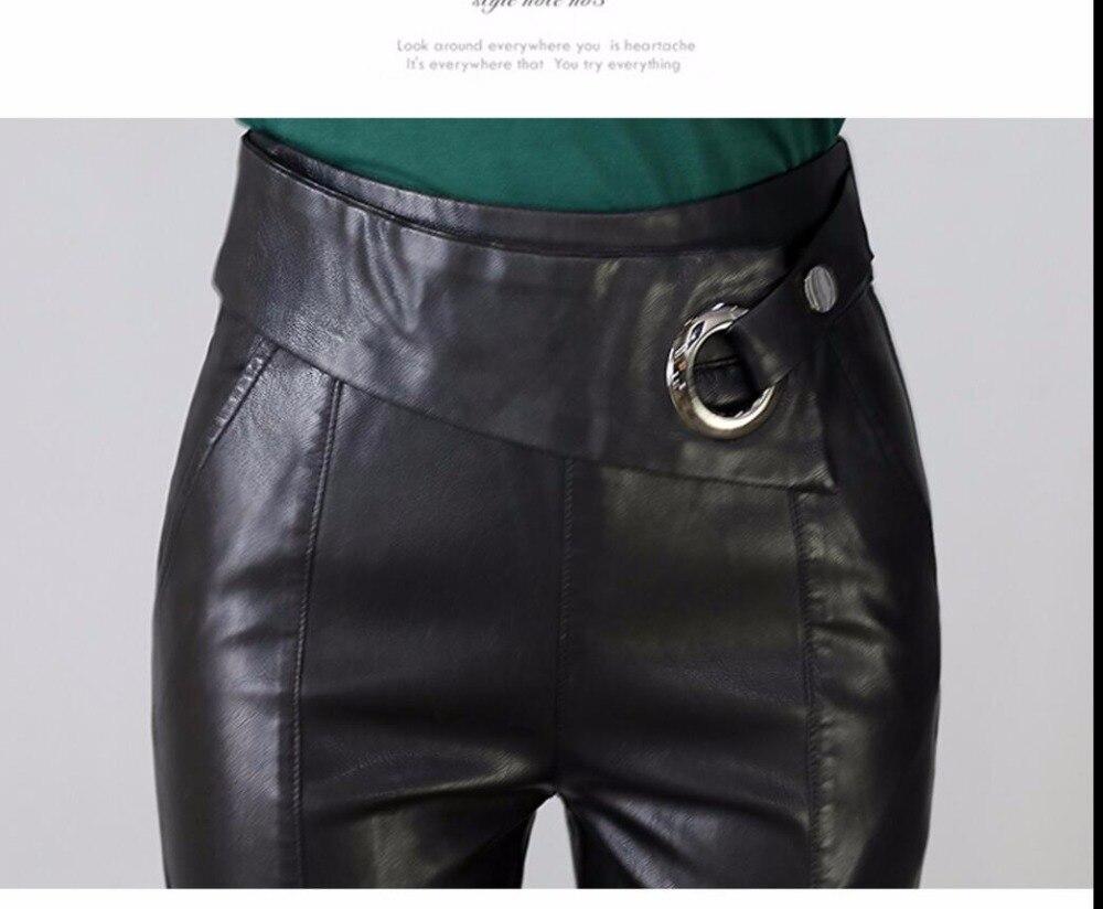 Cintura Placketing Alta Pu Negro Largo Pantalones 2xl Sexy Corte S Nuevo Cuero La Las Otoño Mujeres Mujer Delgado 2019 De 0ORCw6q