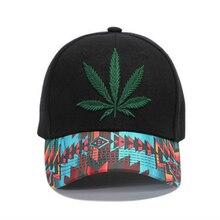 High Quality Leaf Embroidery Baseball Cap Women Men Flower Print Hip Hop Hat