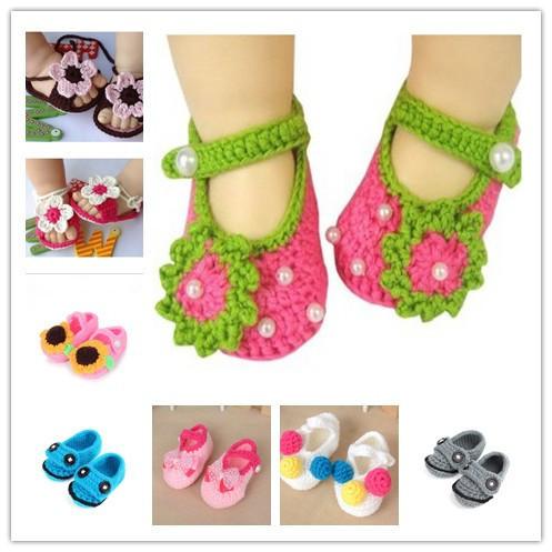 Da criança do bebê sapatos de crochê artesanal de lã de malha de verão fundo macio crianças sapatos 0 - 6 M chaussure bebe fille sapatinhos