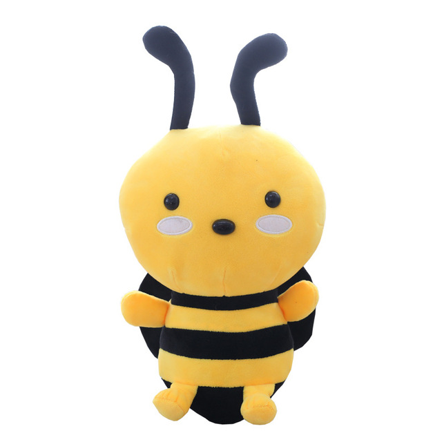 Plush Cute Bee Doll Stuffed Toy Real Life Soft  Animal Kawaii Bee Pillow Kids Toys For Children Christmas Birthday Gift QB197