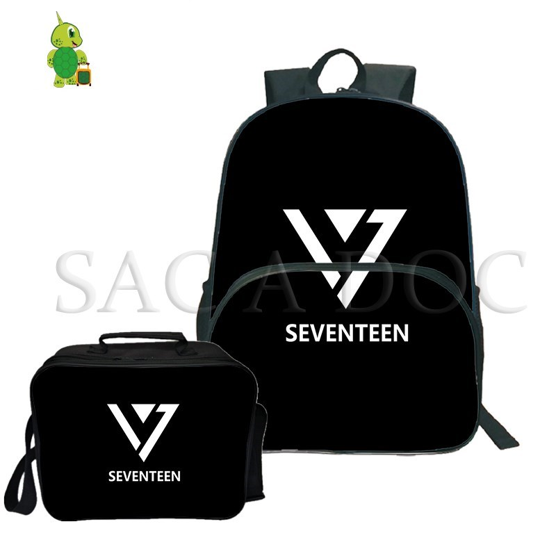 Forceful Seventeen Kpop 2pcs/sets Backpack Joshua/jun Laptop Backpack For Teenagers Girls Boys School Travel Backpack With Cooler Bag Soft And Light Luggage & Bags
