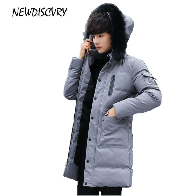 97f16efb6ed Новая мужская зимняя парка с меховым капюшоном 2018 хлопок Толстая теплая  хлопковая длинная мужская зимняя куртка